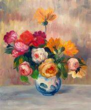 Vase of Roses and Dahlias