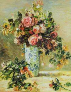 Roses and Jasmine in a Delft Vase