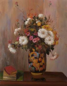 Bouquet of Flowers: Chrysanthemums in a China Vase