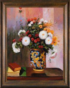 Bouquet of Flowers: Chrysanthemums in a China Vase Pre-Framed