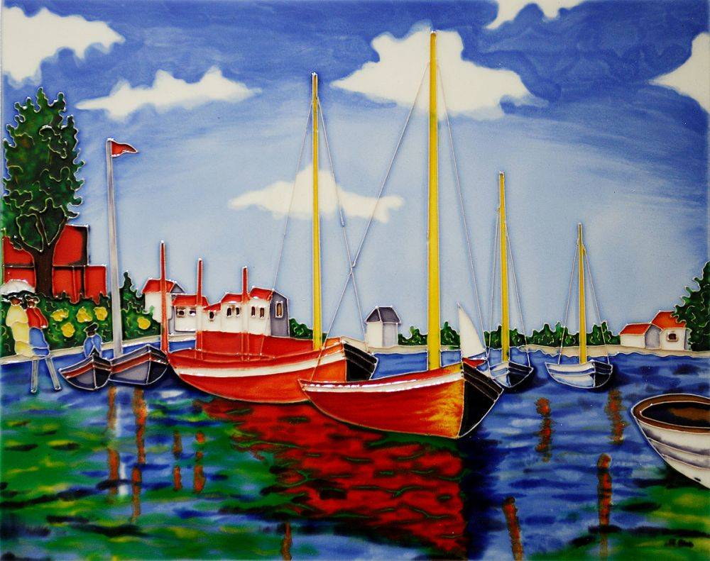 Red Boats Tile