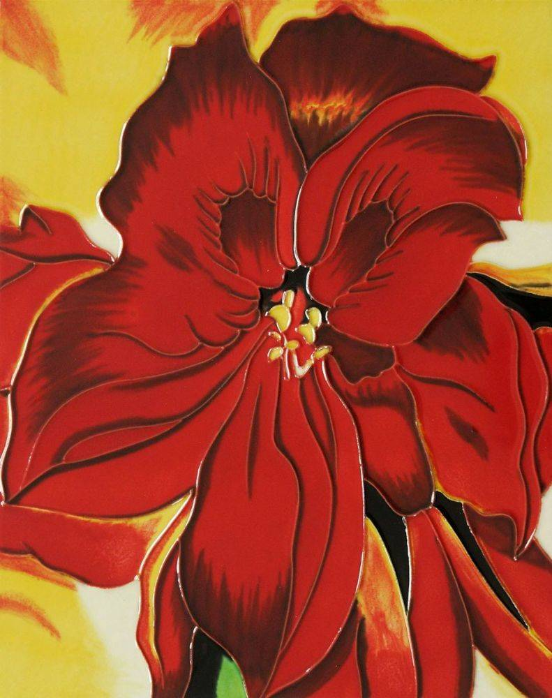 Red Amaryllis 1937(artist interpretation) Trivet/Wall Accent Tile