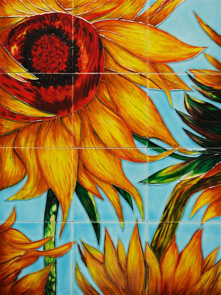 Sunflowers (detail) Mural Wall Tiles