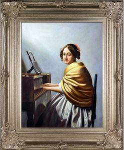Young Woman Seated at the Virginals Pre-Framed