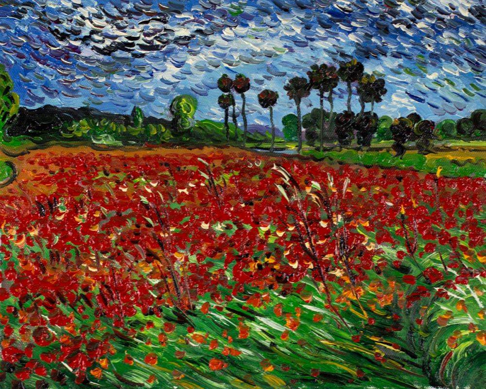 Vincent Van Gogh Field Of Poppies Hand Painted Oil Painting On Canvas