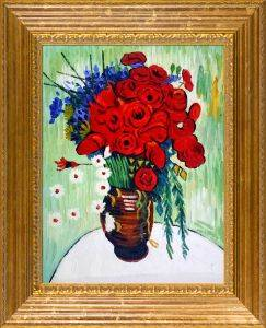 Vase with Daisies and Poppies Oil Painting Pre-Framed