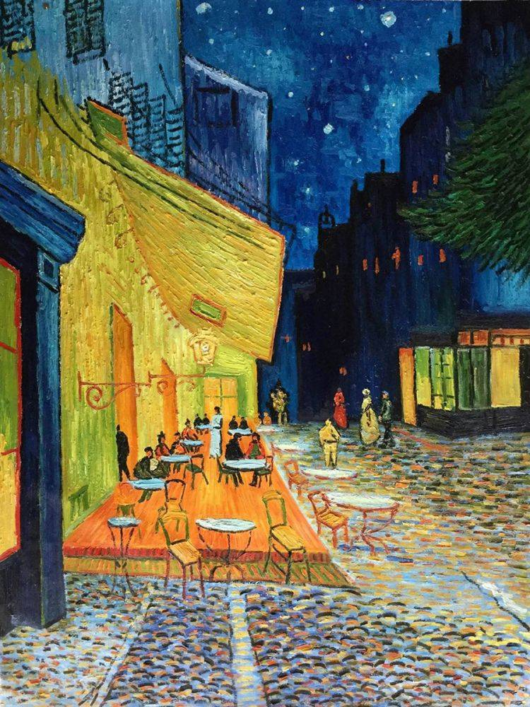 Vincent Van Gogh Cafe Terrace At Night Hand Painted Oil