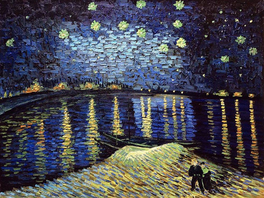 van gogh starry night over the rhone 40x30 painting. Black Bedroom Furniture Sets. Home Design Ideas