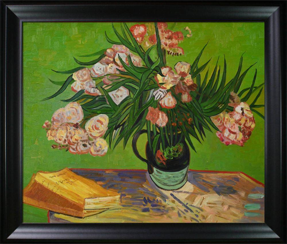 Majolica Jar with Branches of Oleander, 1888 Oil Painting Pre-Framed