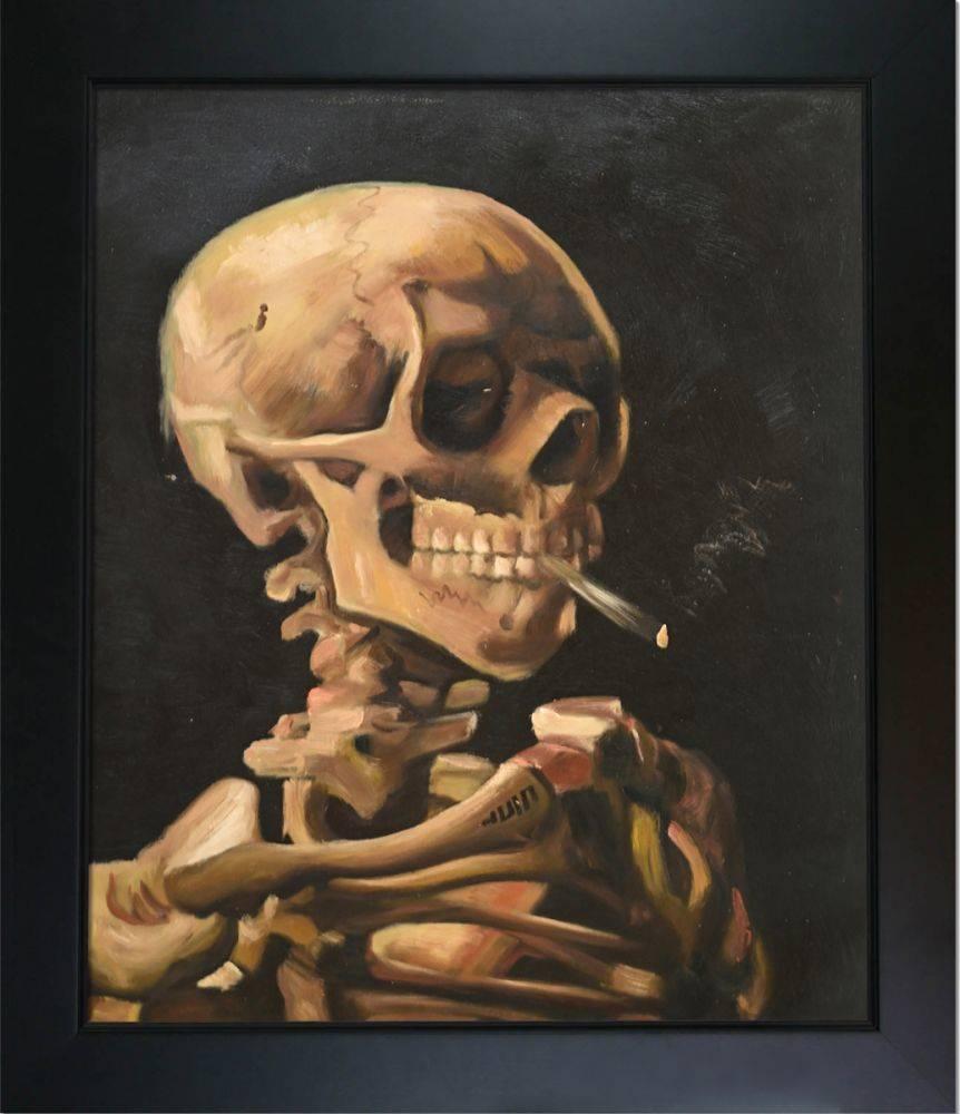 Skull of a Skeleton with Burning Cigarette Pre-Framed