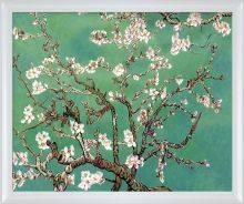 Branches of an Almond Tree in Blossom, Jade Pre-Framed