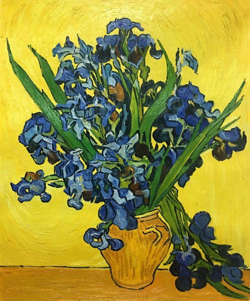Vincent Van Gogh Irises In A Vase Hand Painted Oil