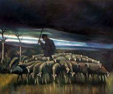 Shepherd with a flock of Sheep