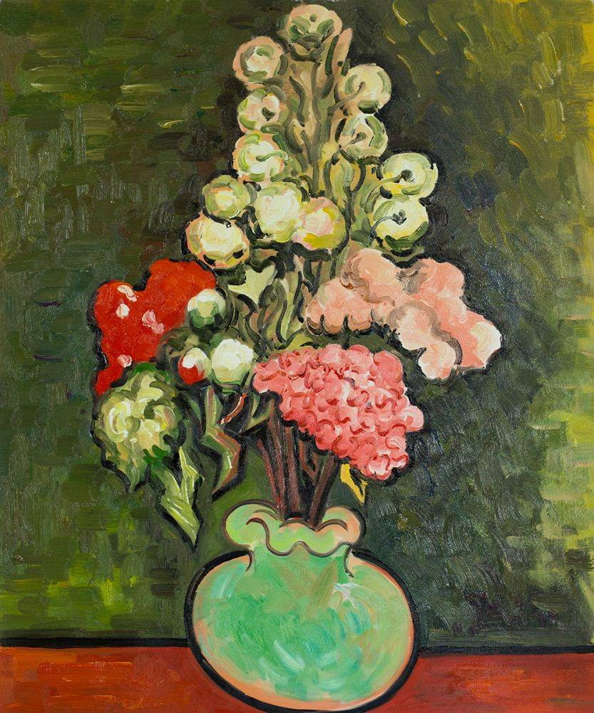 Still Life Vase with Rose-Mallows