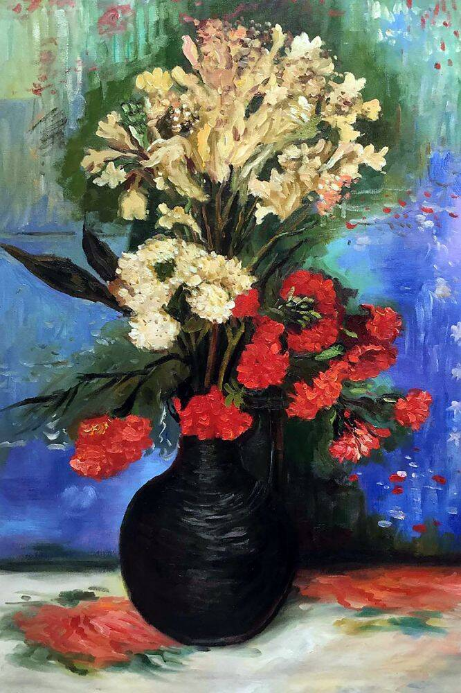 Vase with Carnations and other flowers