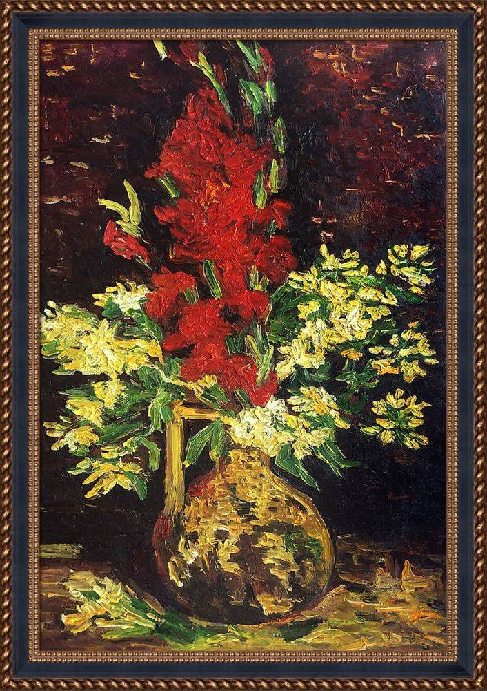 Vase with Gladioli and Carnations Pre-Framed