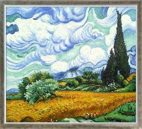 Wheat Field with Cypresses Pre-Framed