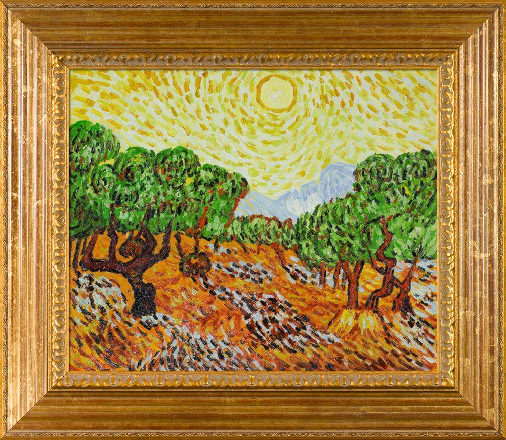 Olive Trees with Yellow Sun and Sky Pre-Framed