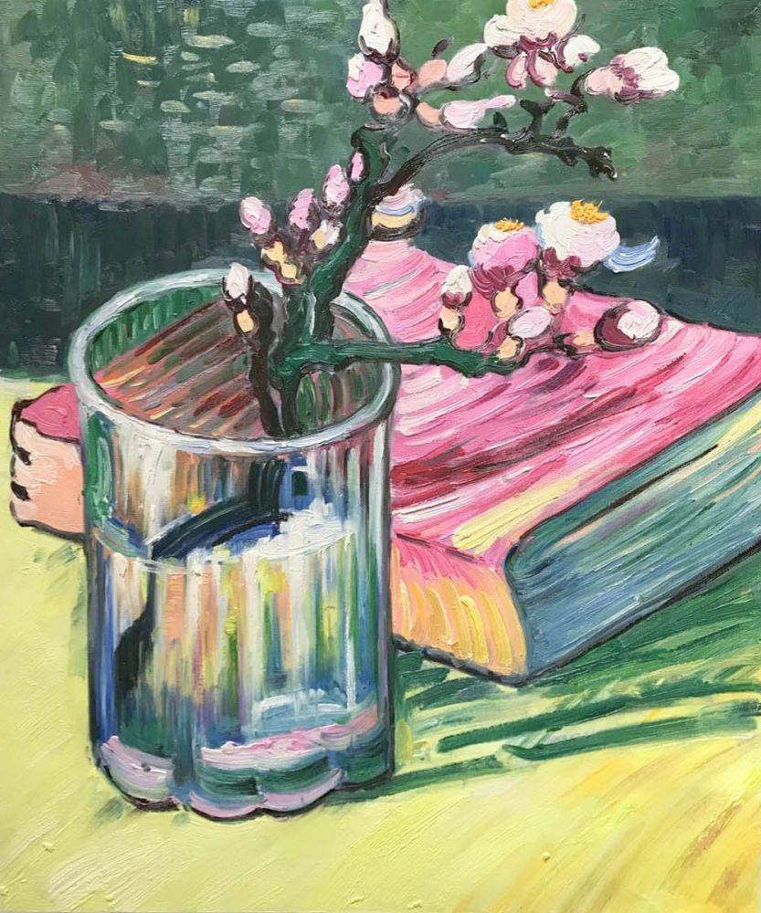 Blossoming Almond Branch In A Glass With Book 1888