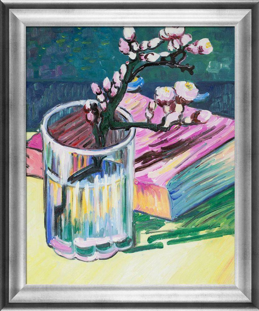 Blossoming Almond Branch in a Glass with a Book Pre-Framed