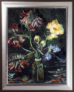 Vase with Myosotis and Peonies, 1886 Pre-Framed