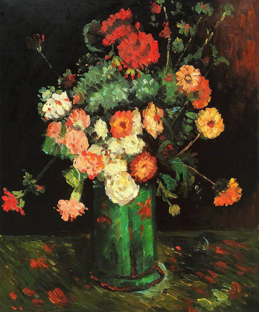 Vase with Zinnias and Geraniums