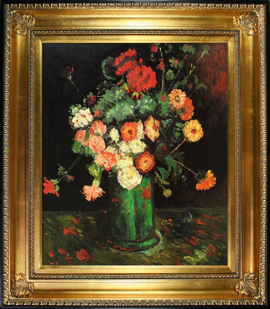 Vase with Zinnias and Geraniums Pre-Framed