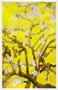 Branches of an Almond Tree in Blossom, Citrine Yellow Pre-Framed