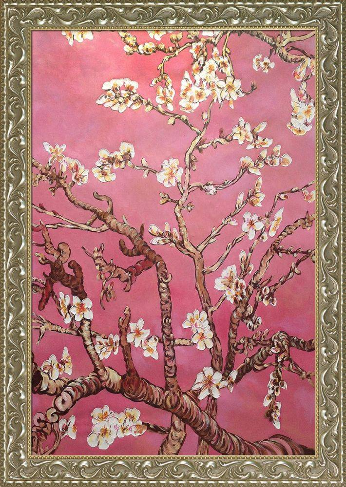 Branches of an Almond Tree in Blossom, Pearl Pink Pre-Framed