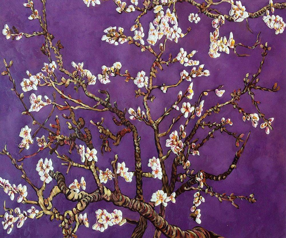 Branches of an Almond Tree in Blossom, Amethyst Purple