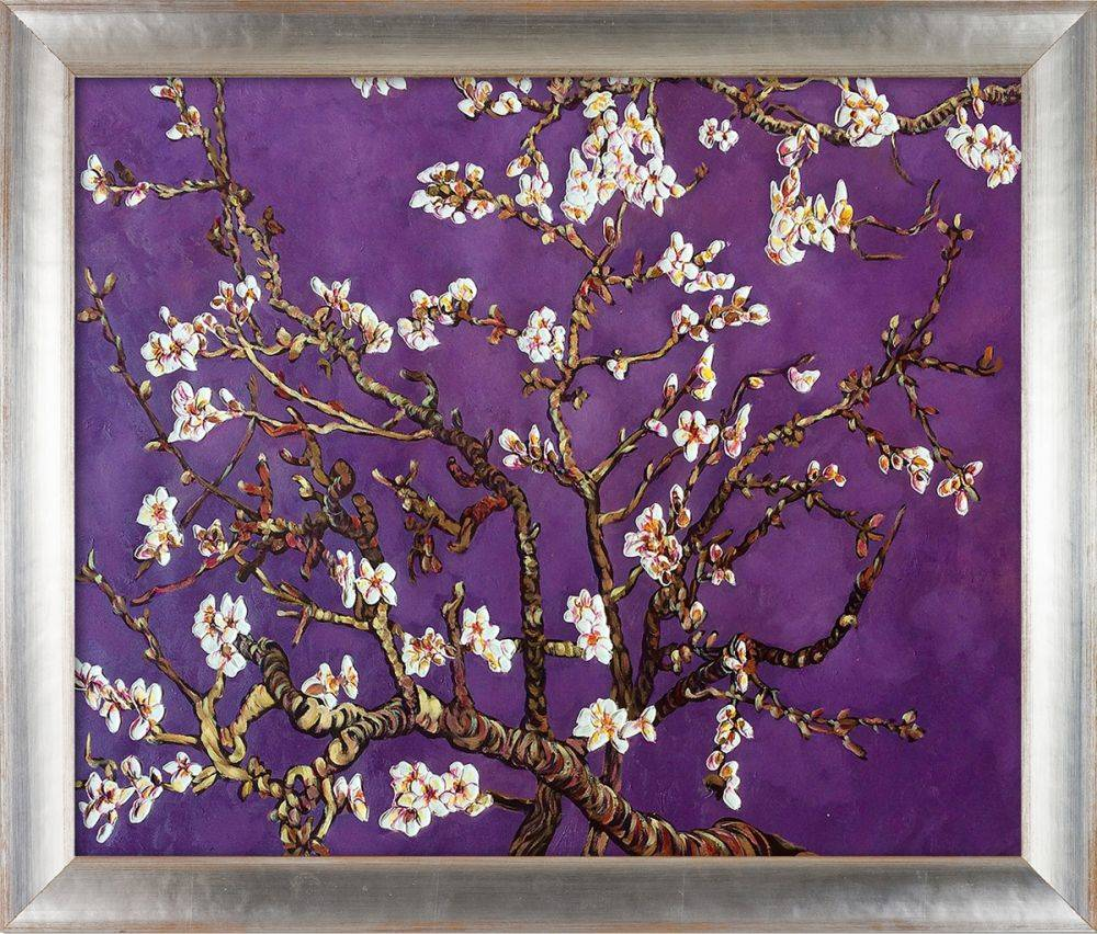 Branches of an Almond Tree in Blossom, Amethyst Purple Pre-Framed