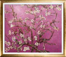 Branches of an Almond Tree in Blossom, Magenta Pre-Framed