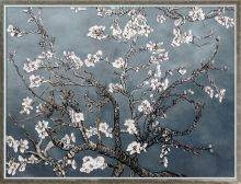 Branches of an Almond Tree in Blossom, Pearl Grey Pre-Framed