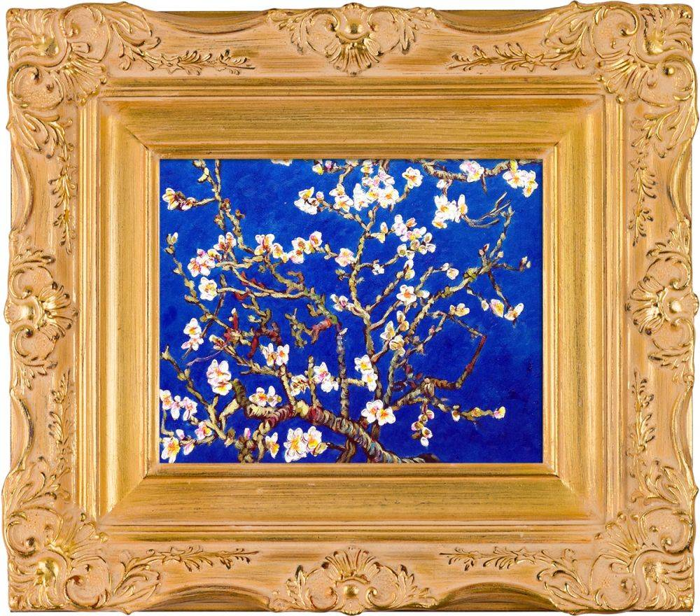 Branches of an Almond Tree in Blosson, Sapphire Blue Pre-Framed