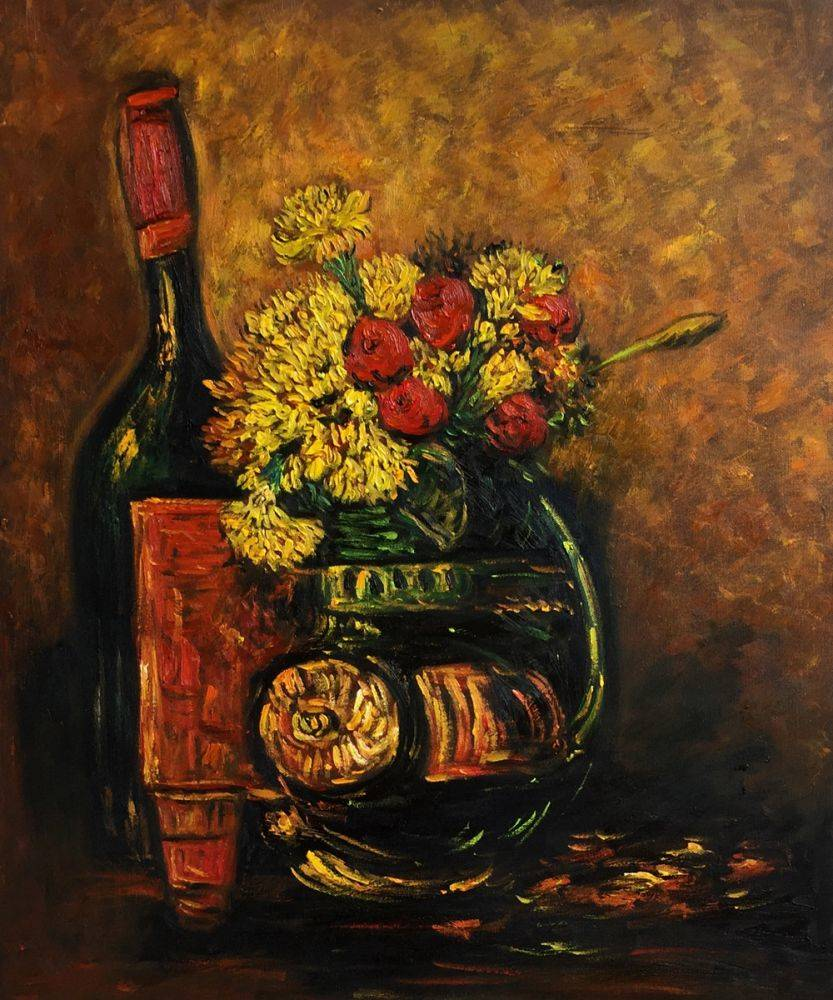 Vase With Carnations And Roses And A Bottle, Paris