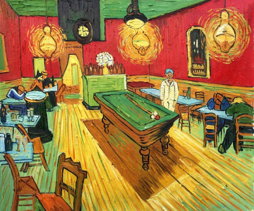 Vincent Van Gogh The Night Cafe Hand Painted Oil Painting On Canvas - Pool table painting