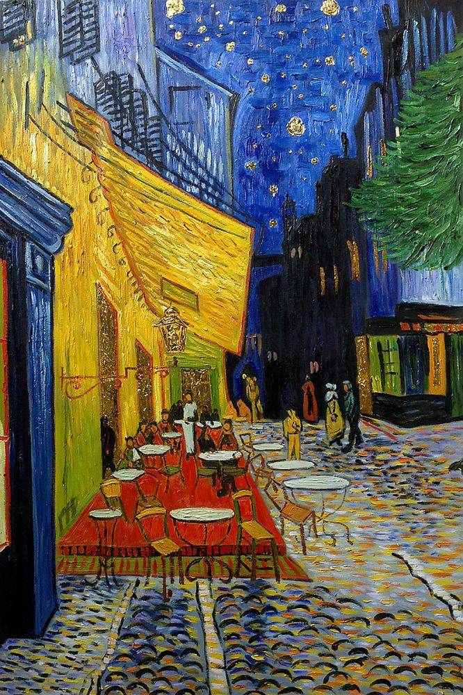 the cafe terrace at night essay Famous artist essay: vincent van gogh student example dec 12, 2008  that the sky is flowing and the calmness of the night the cool colors and the curved lines.