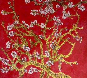 Branches of an Almond Tree in Blossom, Ruby Red (Luxury Line)