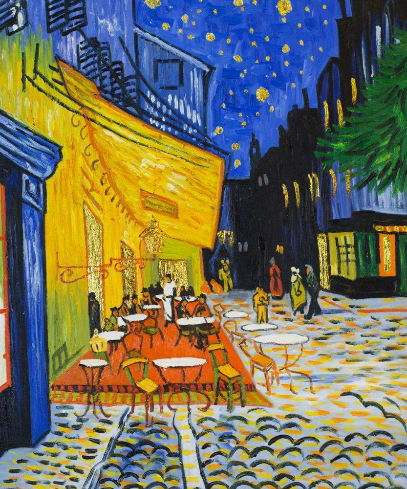 vincent van gogh cafe terrace at night Vincent van gogh (1853-1890)  café terrace at night 1888 the starry night 1889  at this time, vincent was one of the few to use such bold colors and brush strokes, way before the fauve movement after the turn of the century his themes are usually dark nearly empty rooms, quiet waterfront or café scenes or the french countryside.
