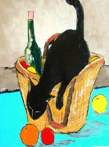 Return from market with black cat