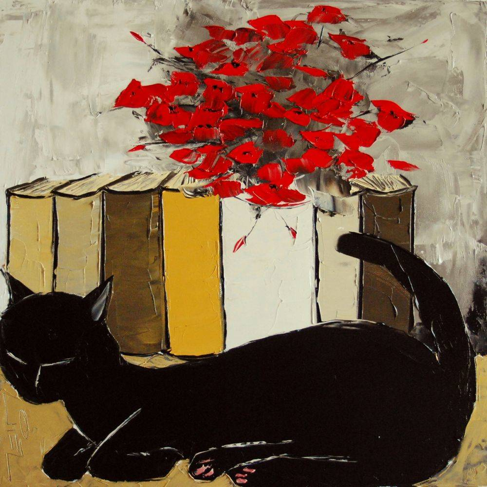Black cat is a sleeping