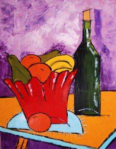 Still life with wine bottle and fruit