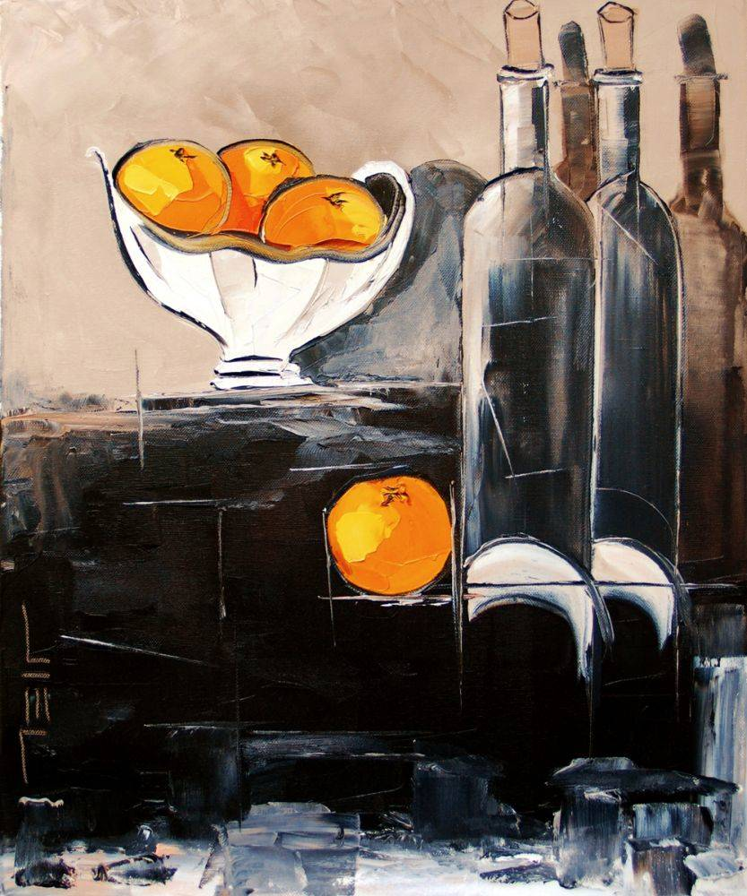 Bottles of wine with oranges
