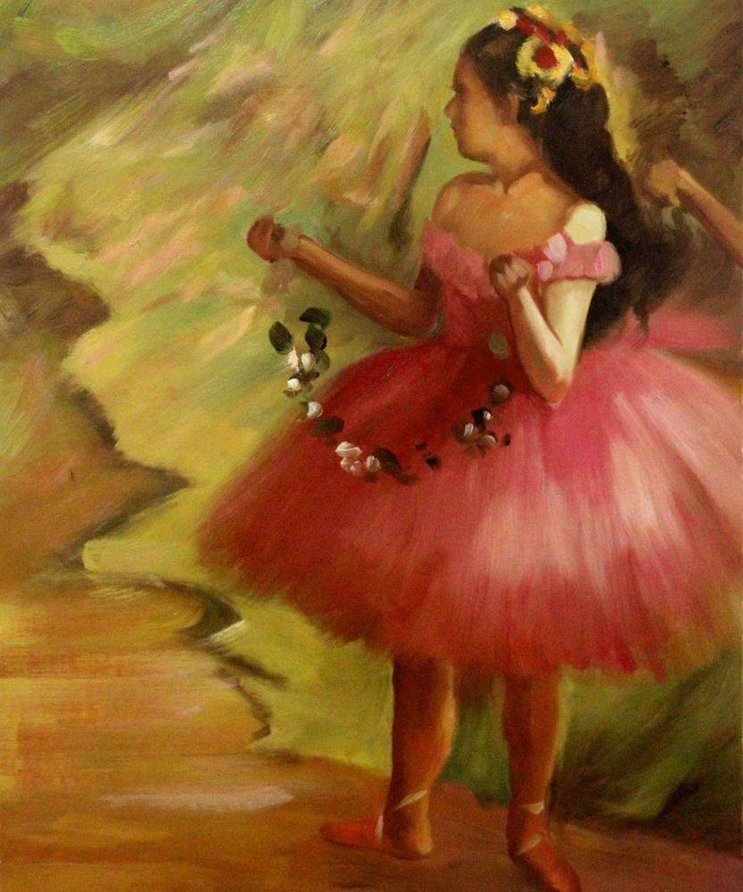 Degas - Dancer in Pink Dress - Painting Reproduction