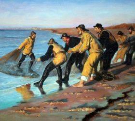 Fishermen Hauling Nets