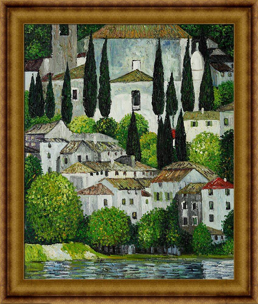 Church in Cassone(Landscape with Cypress) Oil Painting Pre-Framed