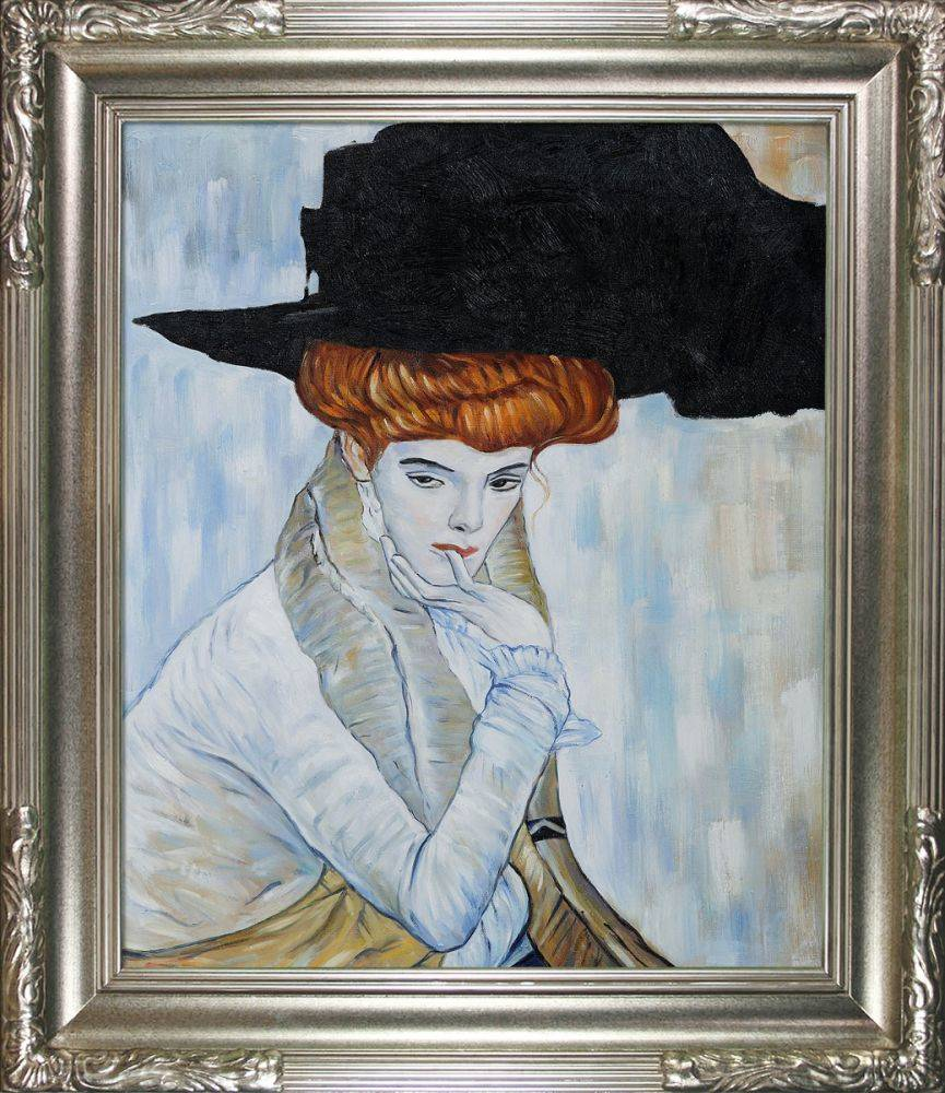 Black Feather Hat Pre-Framed