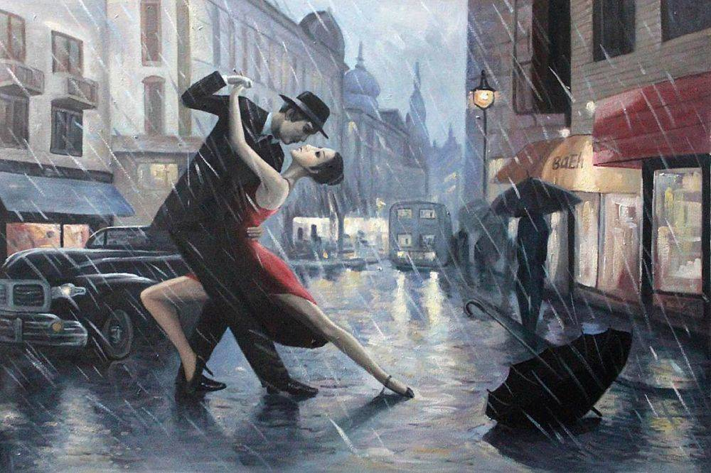 life is a dance in the rain adrian borda painting. Black Bedroom Furniture Sets. Home Design Ideas