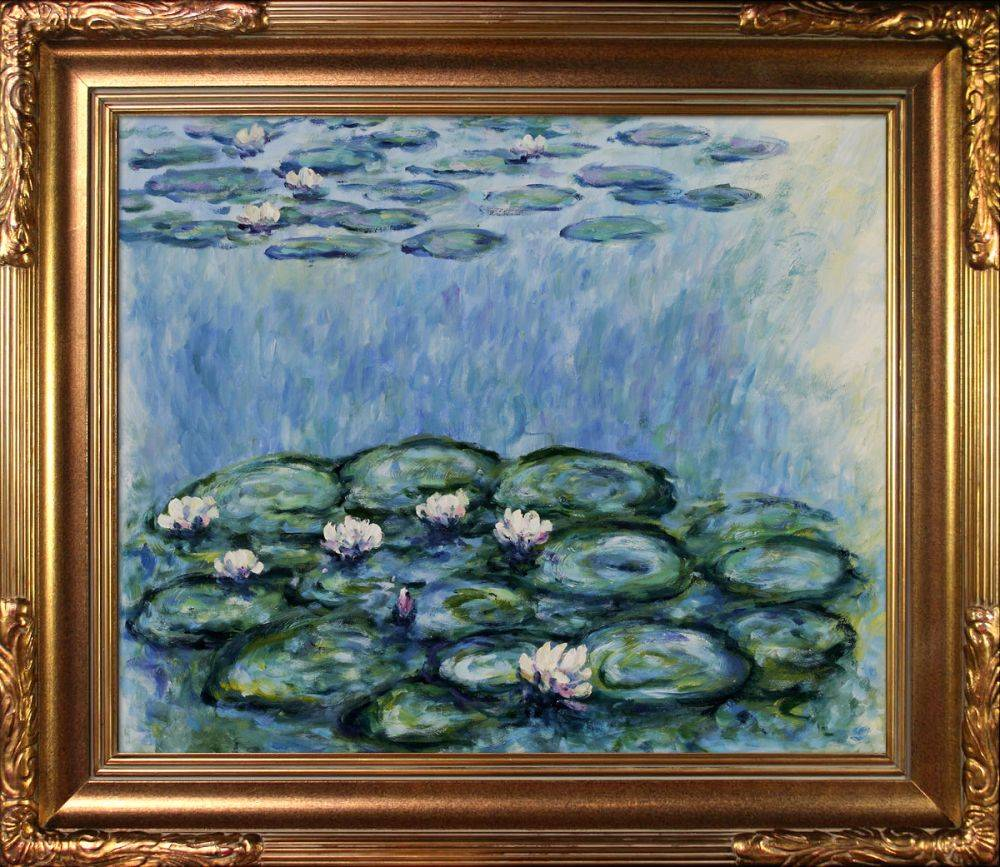 Water Lilies (Blue/Grey) Pre-Framed