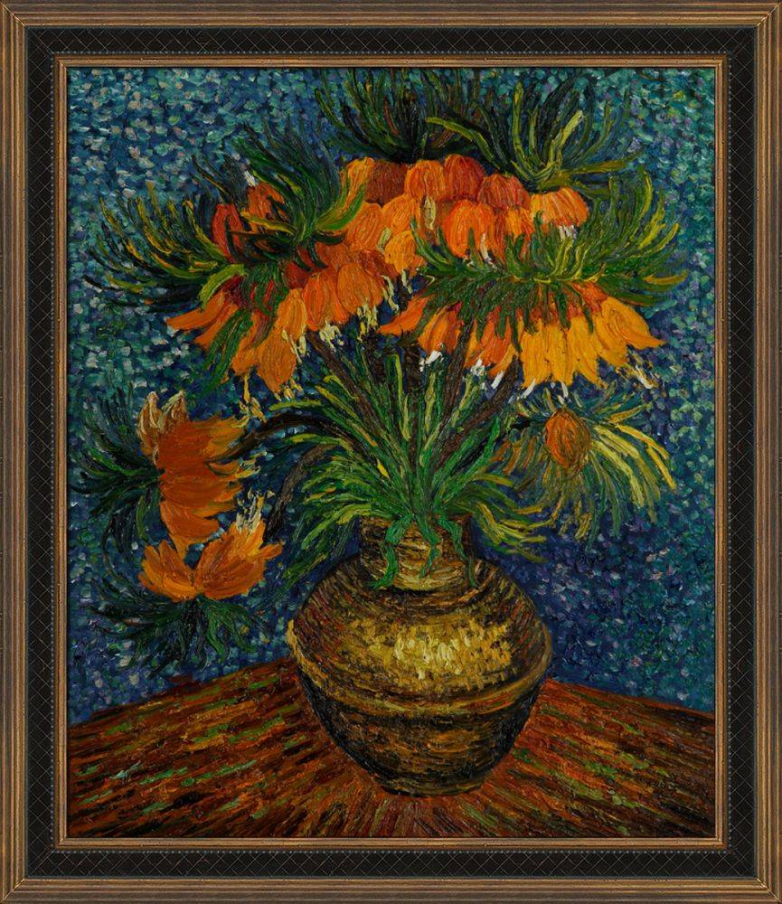 Crown Imperial Fritillaries in a Copper Vase Pre-Framed